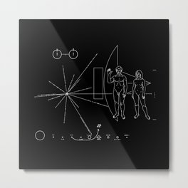 Nasa Pioneer Space Craft Plaque White Text on Black Alien Message Metal Print