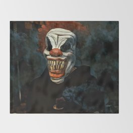 Scary Clown Blue Smoke Throw Blanket