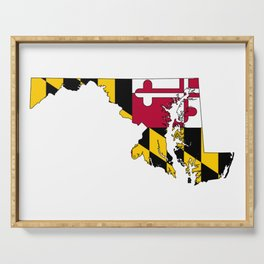 Maryland Map with Flag of Maryland Serving Tray