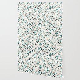 Terrazzo Turquoise Pattern Wallpaper
