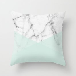 Real White Marble Half Mint Green Shapes Throw Pillow
