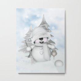 White Snowman Metal Print