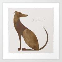 greyhound Art Prints featuring Greyhound by a. peterson