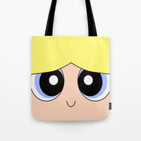 powerpuff girls Tote Bags featuring Bubbles -The Powerpuff Girls- by CartoonMeeting