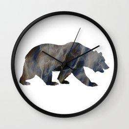 Marble Bear Silhouette Wall Clock