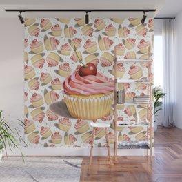 Pink Cupcakes Wall Mural