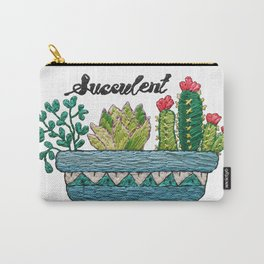 Hand Embroidery Succulent Pot Carry-All Pouch