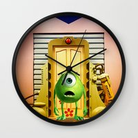 monster inc Wall Clocks featuring  Monster Inc Mike Wazowski by Thorin