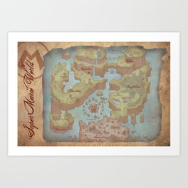 Super Mario World Map (Vintage Style) Art Print