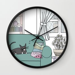 Cat and flies and sofa Wall Clock