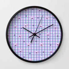 Gingham flowers Wall Clock