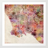 los angeles Art Prints featuring Los Angeles by Map Map Maps