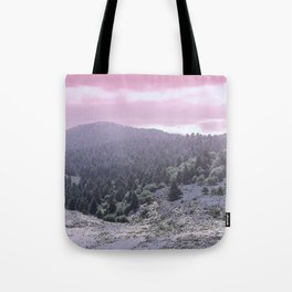 Pink Sunset on Mountains Tote Bag
