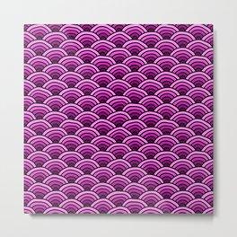 Japanese Waves Seigaiha Pink Metal Print