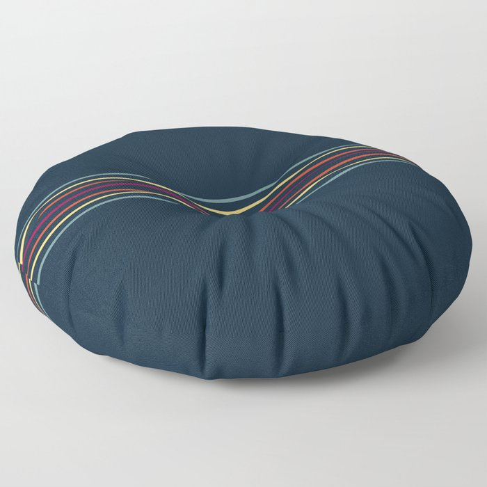 Thin Lines in Retro Color Floor Pillow
