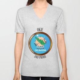 Oklahoma Proud Flag Button Unisex V-Neck