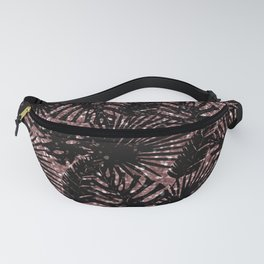 Modern rose gold black glitter swiss cheese plant tropical floral pattern Fanny Pack