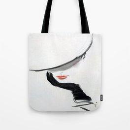 Retro Fashion Model with Black Glove Tote Bag
