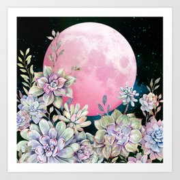 succulent full moon 3 Art Print