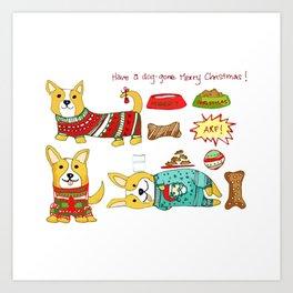 Christmas Corgi Art Print