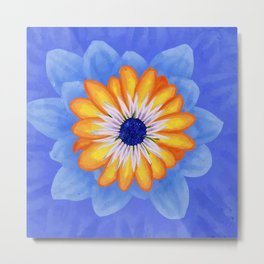 Orange Exotic Flower Blue Background Metal Print