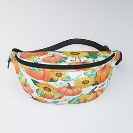 Pumpkins and Sunflowers with moths, watercolor botanical Fanny Pack