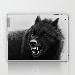 Growling Black Wolf Laptop & iPad Skin