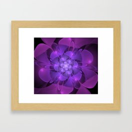 Purple Dew Drops | Abstract digital flower Framed Art Print