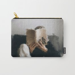 digital oil painting of a faceless woman reading on a sofa Carry-All Pouch
