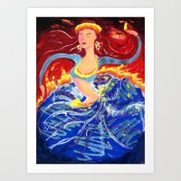 Blue Snake Arms Aflame Art Print