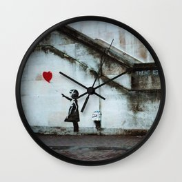 Banksy street art / photograph - girl with red ballon Wall Clock