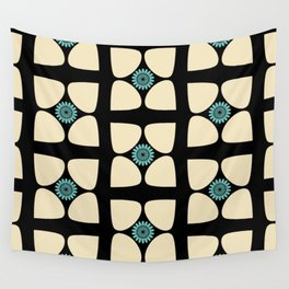 Tear Drop Flower Petals Inset Sunflower Graphic Teal Cream Black Wall Tapestry