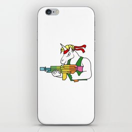 Unicorn  fighter soldier muscles weapon shooting rainbow rambo gift idea iPhone Skin