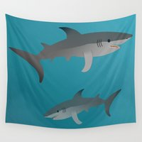 sharks Wall Tapestries featuring Sharks by Bwiselizzy