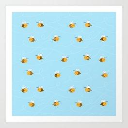 Kawaii Buzzy Bumble Bees Art Print