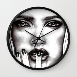 Makeup Model Portrait Photorealism Sketch Wall Clock