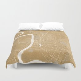 Vintage map of Baton Rouge Louisiana in sepia Duvet Cover