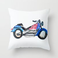motorcycle Throw Pillows featuring Motorcycle by Aniko Levai