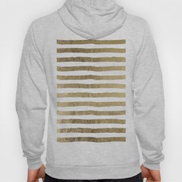 White faux gold elegant modern striped pattern Hoody