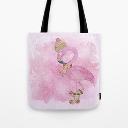 Winter Woodland Stranger- Cute Flamingo Bird Snowy Forest Illustration Tote Bag