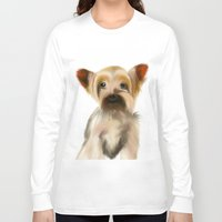 yorkie Long Sleeve T-shirts featuring Yorkie Puppy on White  by barefoot art online