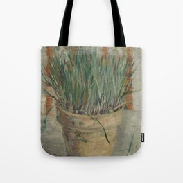 Flowerpot with Garlic Chives Tote Bag