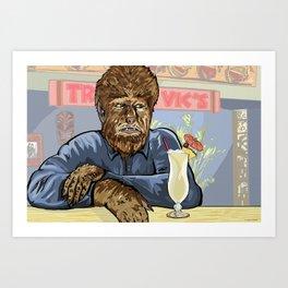 Wolfman drinking a pina colada at Trader Vics. Art Print
