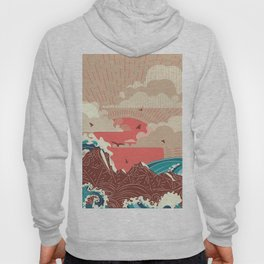 Stylized big waves of ocean or sea at sunset landscape Hoody