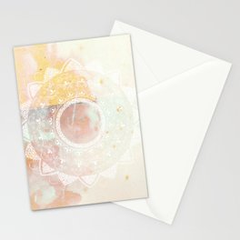 Precious white mandala on pink Stationery Cards