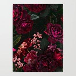 Vintage & Shabby Chic - Night Botanical Flower Roses Garden Poster