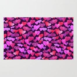 Watercolor hearts romantic design Rug