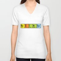 bazinga V-neck T-shirts featuring Bazinga Periodical by pwrighteous