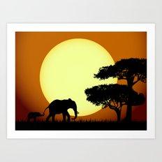 Safari elephants at sunset Art Print