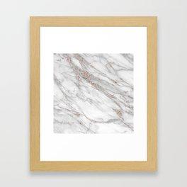 Pink Rose Gold Blush Metallic Glitter Foil on Gray Marble Framed Art Print